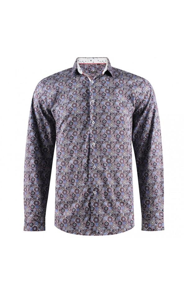 Camisa de hombre con estampado Círculo de cultivos   ABH Collection JÁVEA