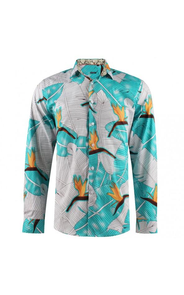 Camisa de hombre estampado aves del paraíso flor |ABH Collection JÁVEA