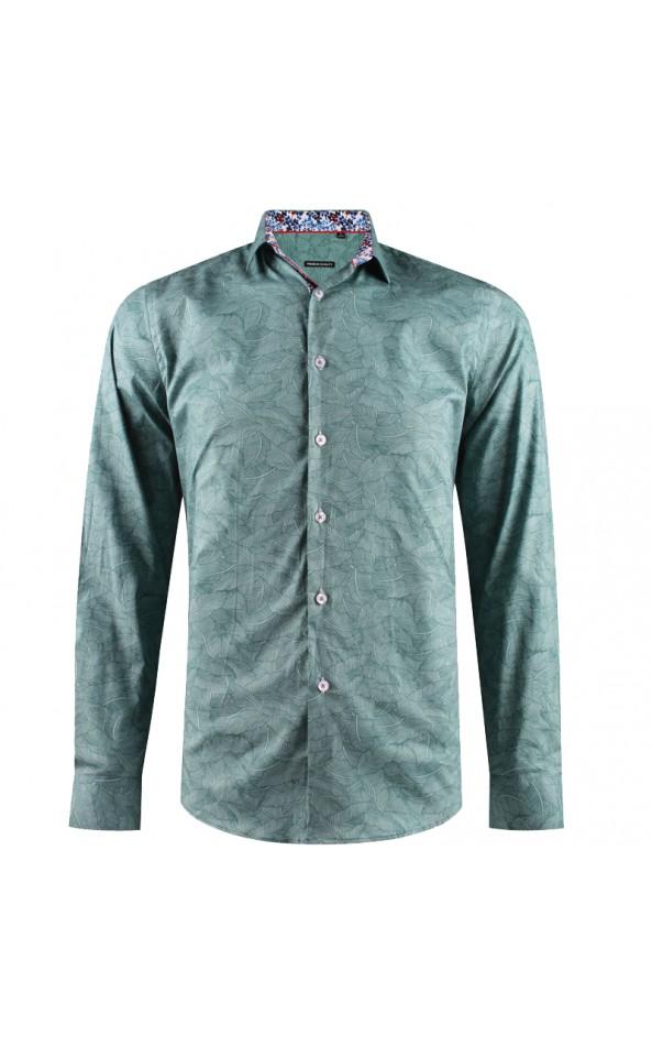 Camisa de hombre verde estampado de hojas | ABH Collection JÁVEA