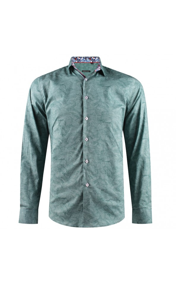 Leaf print green men's shirt | ABH Collection JÁVEA
