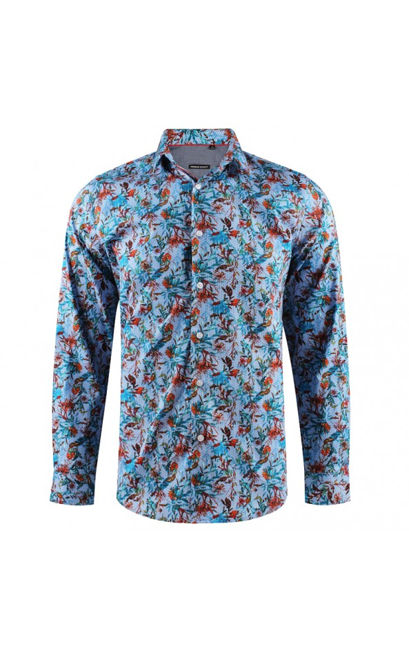 Flower print blue men's shirt | ABH Collection JÁVEA
