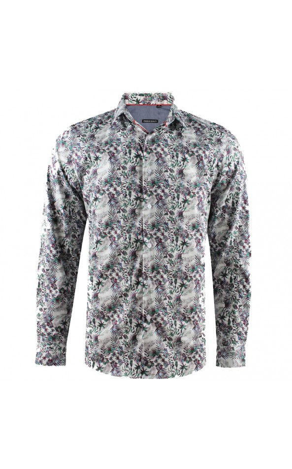 Camisa de hombre blanca estampado flores 3D | ABH Collection JÁVEA