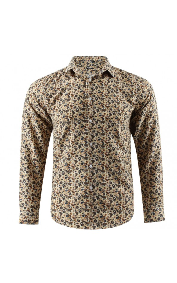 Camisa de hombre beige estampado cachemir | ABH Collection JÁVEA