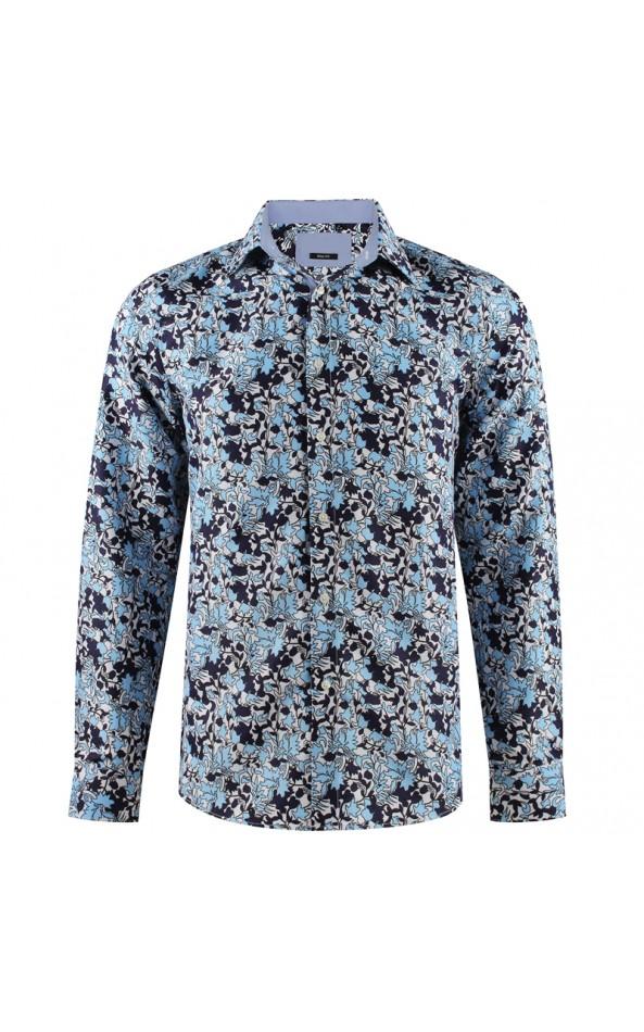 Camisa de hombre azul estampado de arbusto | ABH Collection JÁVEA