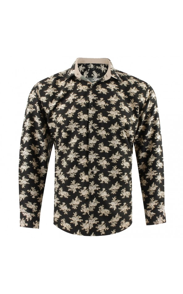 Camisa de hombre caqui estampado ramo de flore | ABH Collection JÁVEA