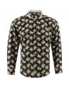 Bouquet flowers print Khaki men's shirt | ABH Collection JÁVEA