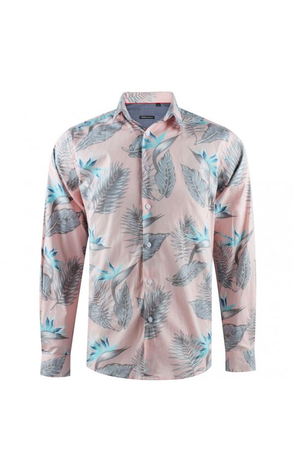 ABH Collection JÁVEA Pink men's shirt with bird of paradise print