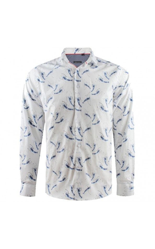 Shrimp print white men's shirt | ABH Collection JÁVEA