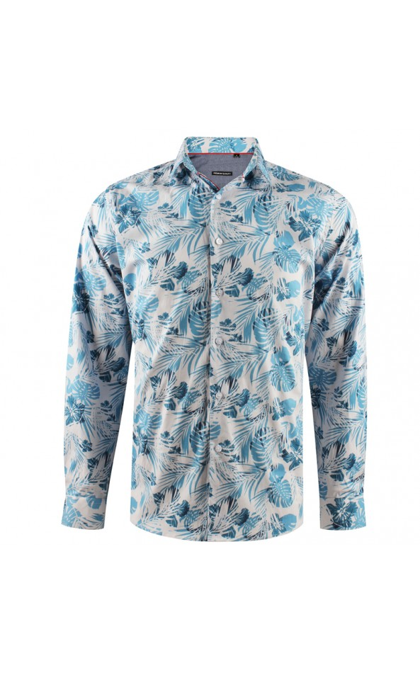 Camisa de hombre blanca estampado flor tropical | ABH Collection JÁVEA