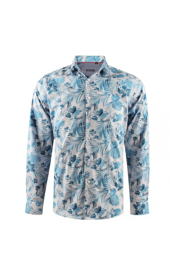 Camisa de hombre blanca estampado flor tropical | ABH Collection JÁVEA