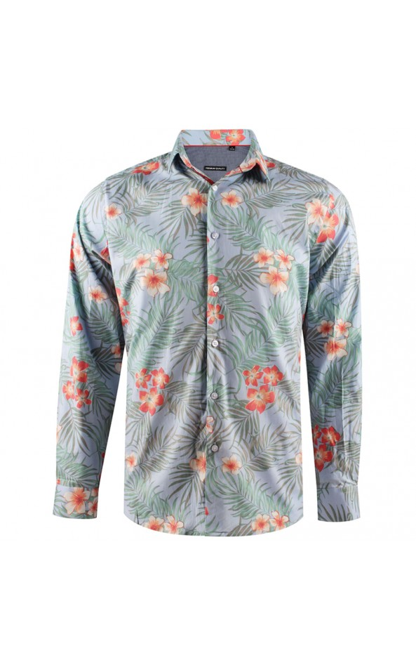 Camisa de hombre azul estampado hawaiano | ABH Collection JÁVEA