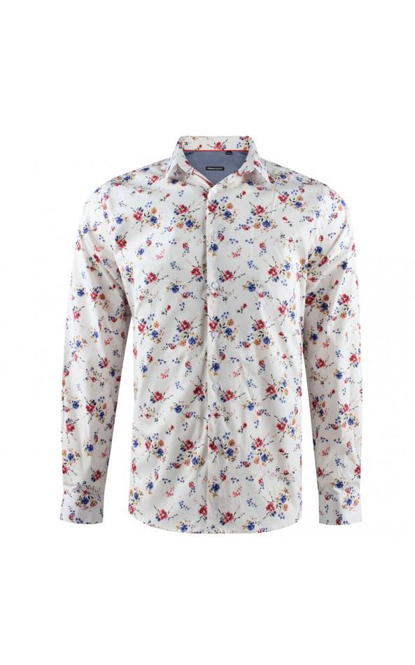Small flowers print egg shell men's shirt | ABH Collection JÁVEA