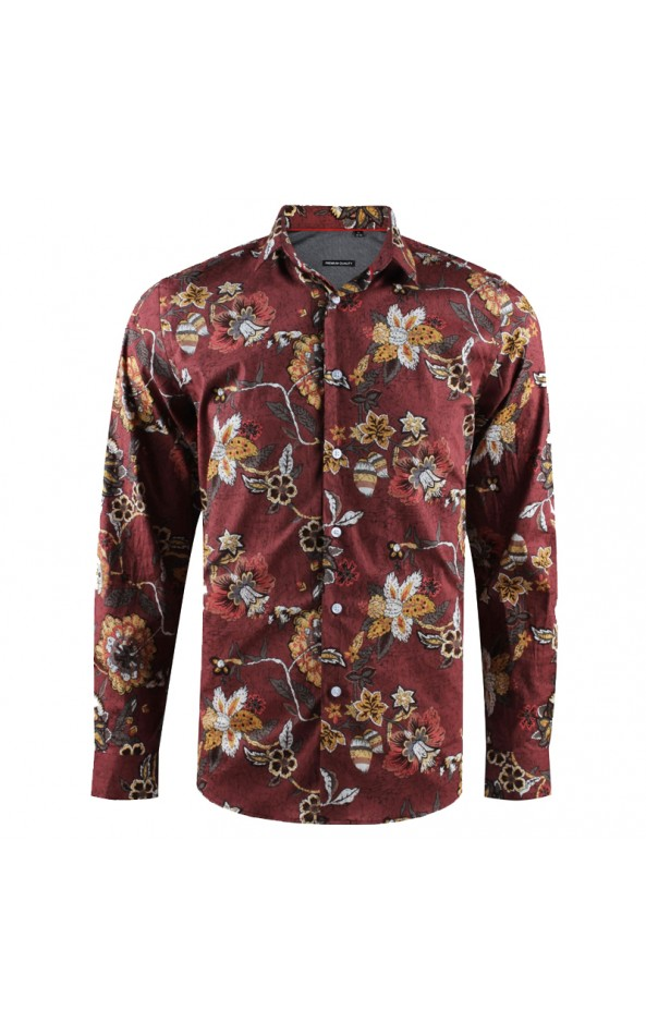Camisa de hombre marrón estampado flores | ABH Collection JÁVEA