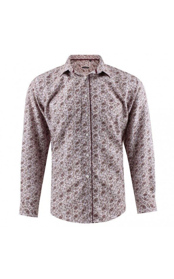 Camisa de hombre burdeos estampado cachemir | ABH Collection JÁVEA