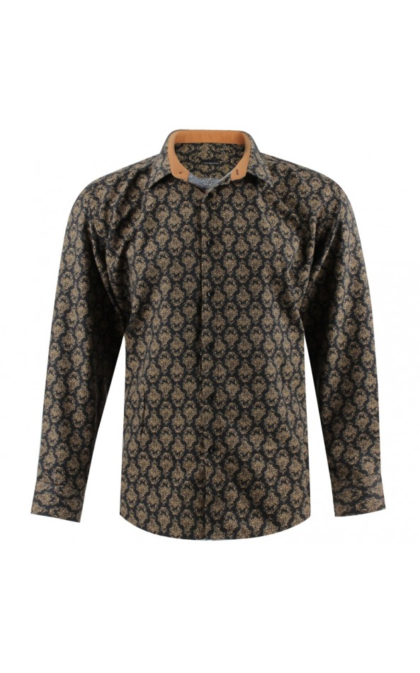 Camisa de hombre negra estampado real | ABH Collection JÁVEA