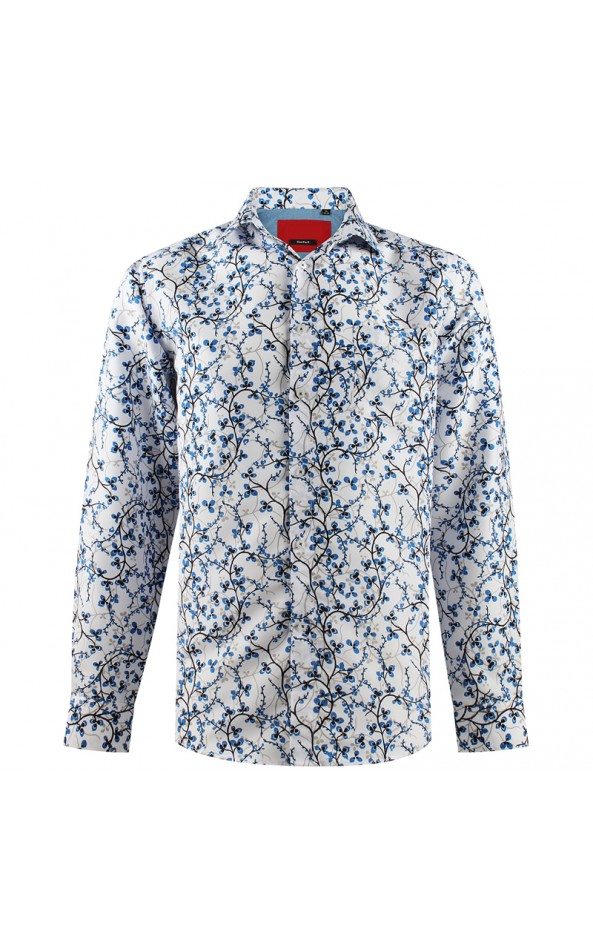 Camisa de hombre blanca estampado de lianas | ABH Collection JÁVEA