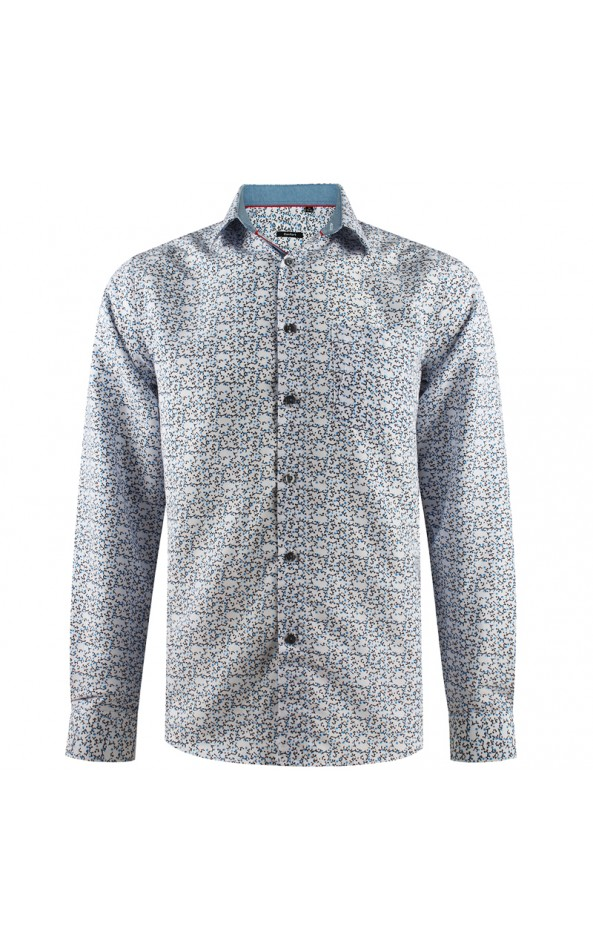Camisa de hombre blanca estampado azul | ABH Collection JÁVEA