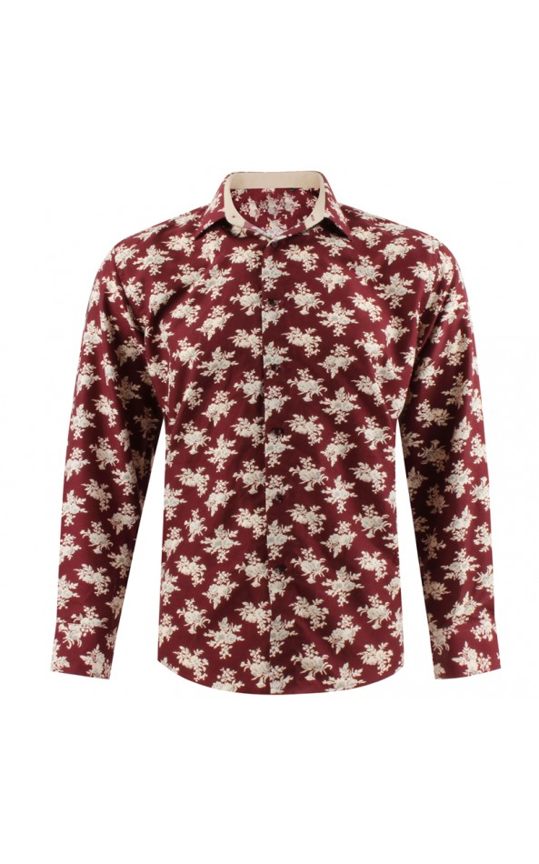 Bouquet of flowers print burgundy men's shirt | ABH Collection JÁVEA