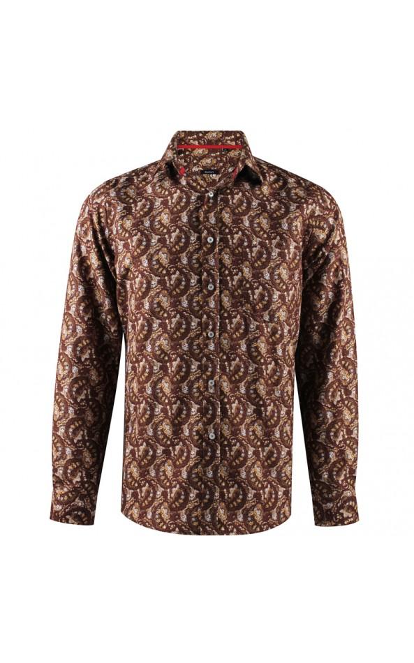 Camisa de hombre marrón estampado de cachemir | ABH Collection JÁVEA