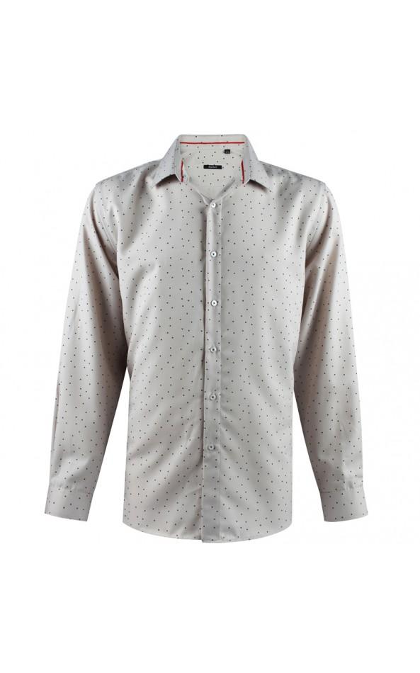Camisa de hombre beige con estampado de punto | ABH Collection JÁVEA