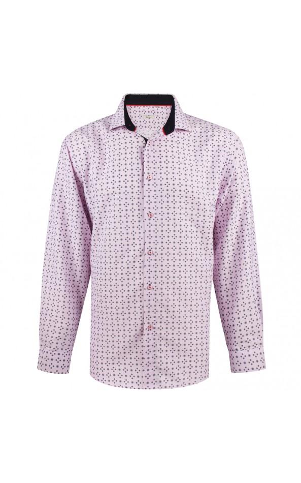 Camisa de hombre rosa estampado círculo | ABH Collection JÁVEA
