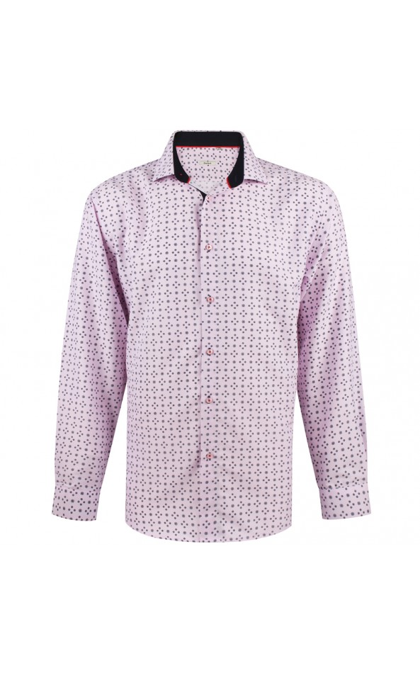 Circle print pink men's shirt | ABH Collection JÁVEA