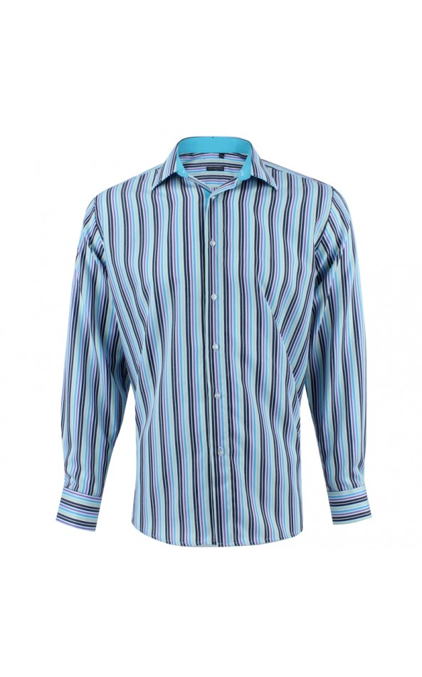 ABH Collection JÁVEA Men's blue shirt with multicolored stripes
