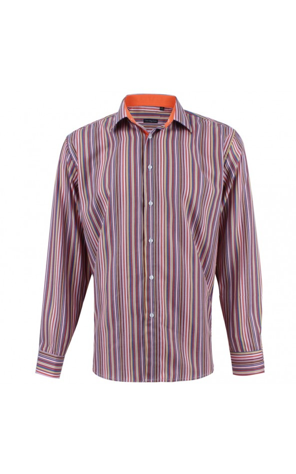 Chemise homme orange rayures multicolores | ABH Collection JÁVEA