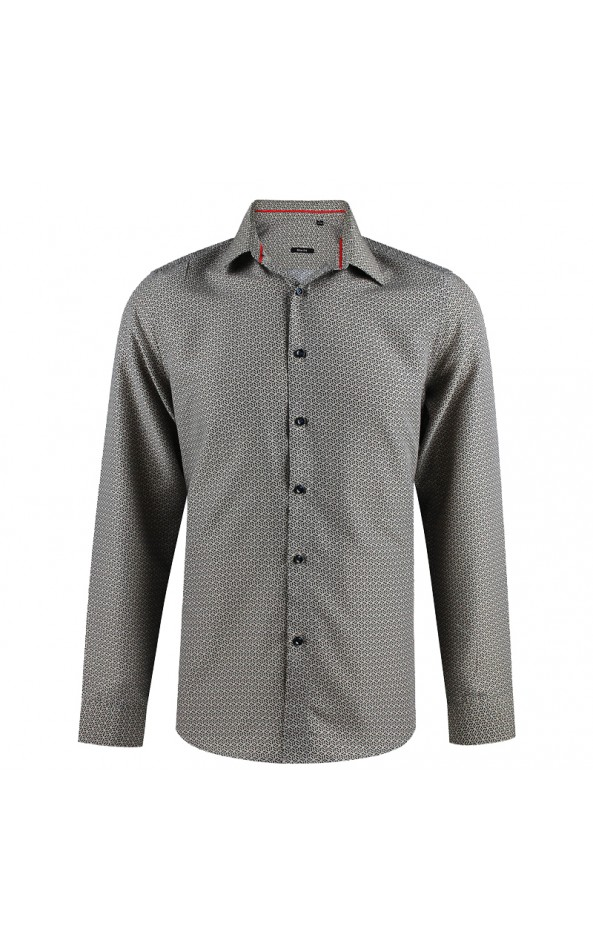 Camisa de hombre beige estampado geométrico | ABH Collection JÁVEA