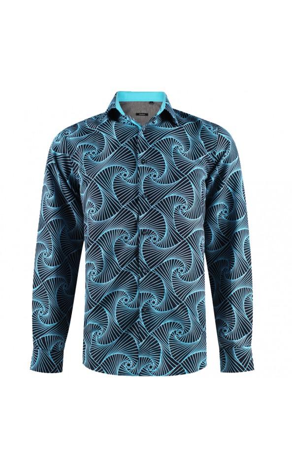 Chemise homme bleu imprimé géométrique | ABH Collection JÁVEA