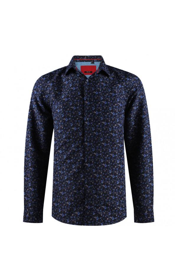 Camisa de hombre azul marino con estampado floral ABH Collection JÁVEA