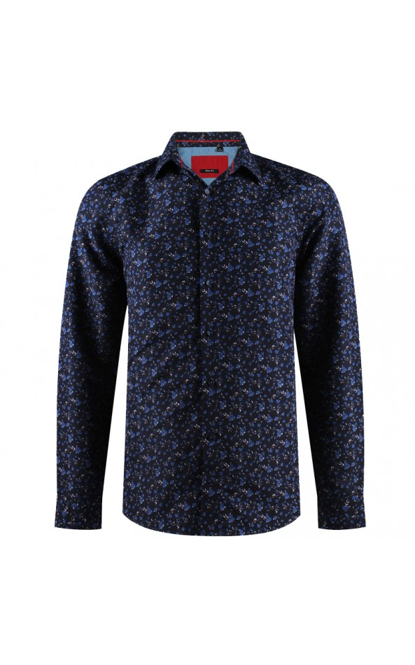 Floral print navy blue men's shirt | ABH Collection JÁVEA