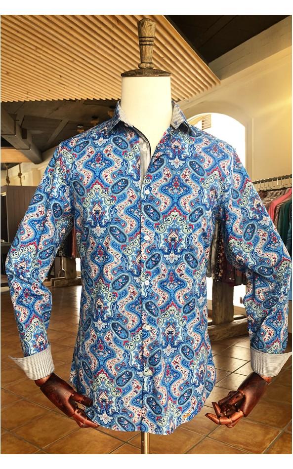 Camisa de hombre Slim fit estampado cachemir   ABH Collection JÁVEA