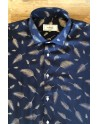 Camisa de hombre estampado plumas plateada | ABH Collection JÁVEA