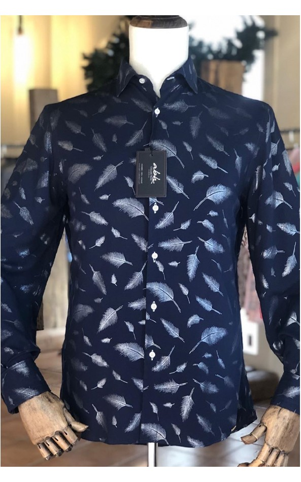 Silver feathers printed men's shirt | ABH Collection JÁVEA