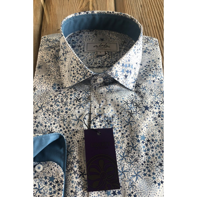 LIBERTY FABRICS Tessa Adelajda Lawn Men's Shirt | ABH Collection JÁVEA