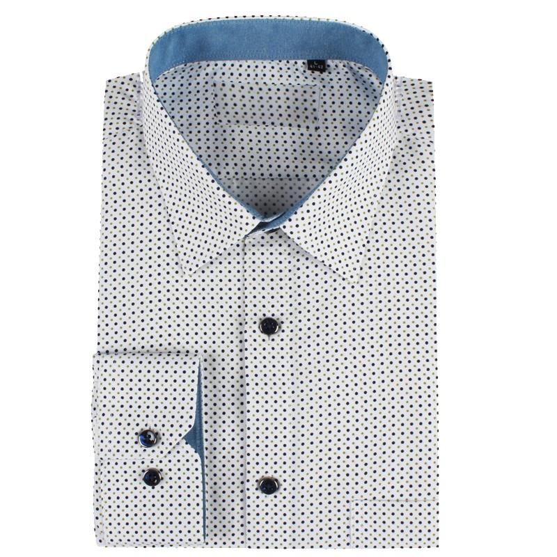 Camisa de hombre blanca estampado punto | ABH Collection JÁVEA