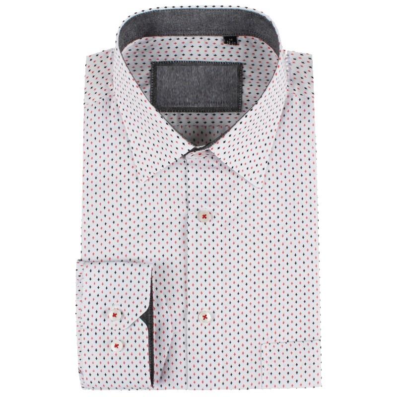 Camisa de hombre blanca estampado cruz | ABH Collection JÁVEA