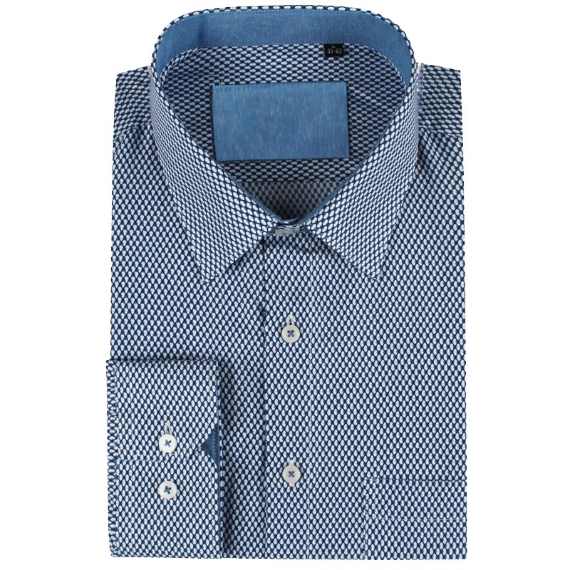 Blue men's shirt honeycomb print | ABH Collection JÁVEA