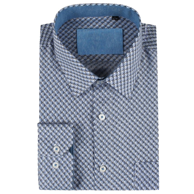 Camisa de hombre azul estampado de rombos | ABH Collection JÁVEA