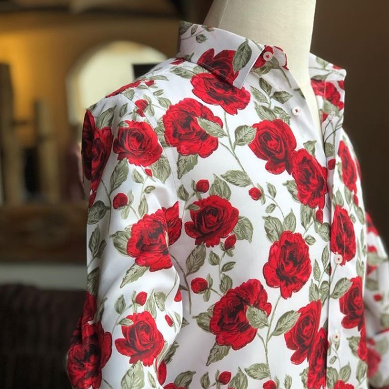 Chemise homme blanche imprimé rose   ABH Collection JÁVEA