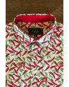 Red chilli pepper print men's shirt | ABH Collection JÁVEA