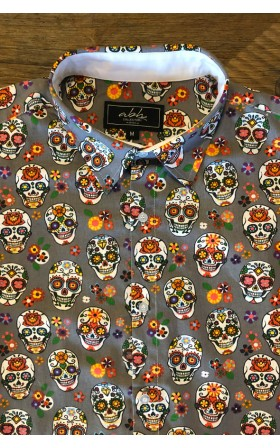 Calavera Gris De Mexicana Hombre Camisa EHYe9IW2D