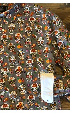 ABH Collection JÁVEA Grey mexican skull men shirt
