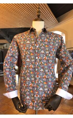 ABH Collection JÁVEA Camisa de hombre gris calavera mexicana