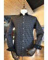 Camisa de hombre negra estampado floral beige | ABH Collection JÁVEA