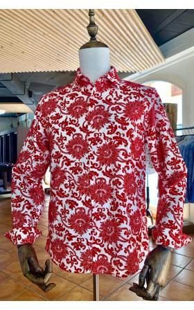 ABH Collection JÁVEA Chemise homme Fleurs rouges