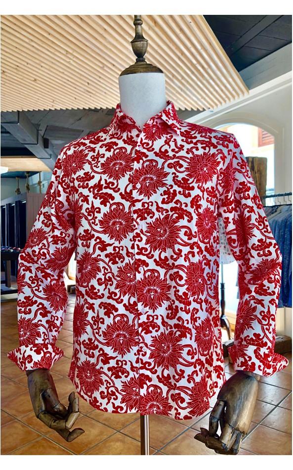 ABH Collection JÁVEA Camisa de hombre flores rojas