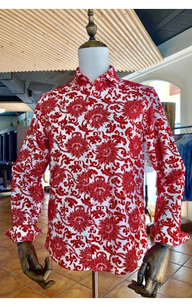 ABH Collection JÁVEA Red flowers men's shirt