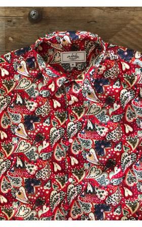 ABH Collection JÁVEA Chemise homme rouge imprimés coeurs